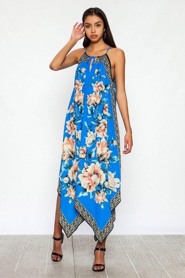 Floral Print Handkerchief Maxi Dress