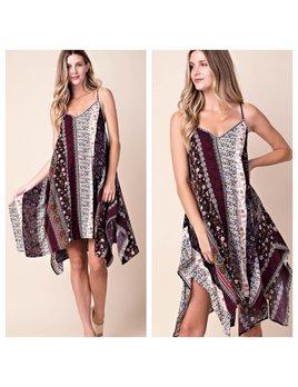 Boho Print Handkercheif Dress