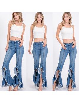 Frayed Ruffle Hem Jeans