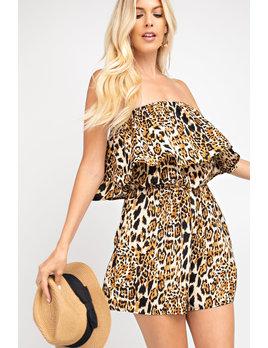 Ruffle Leopard Print Tube Romper