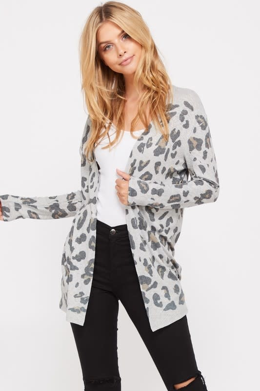 Ribbed Leopard Print Cardigan