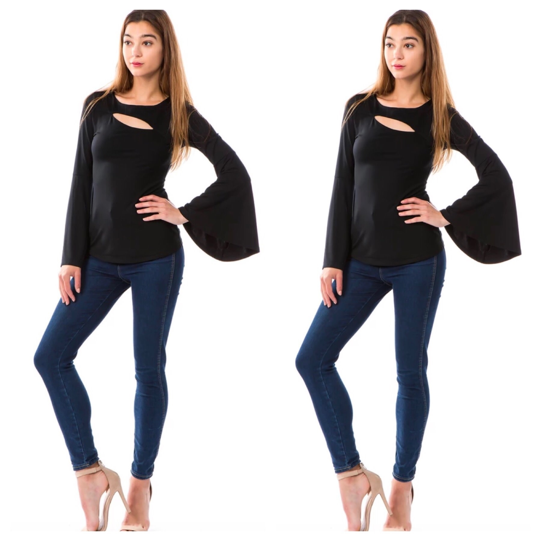 Cut Out Detail Bell Sleeve Top