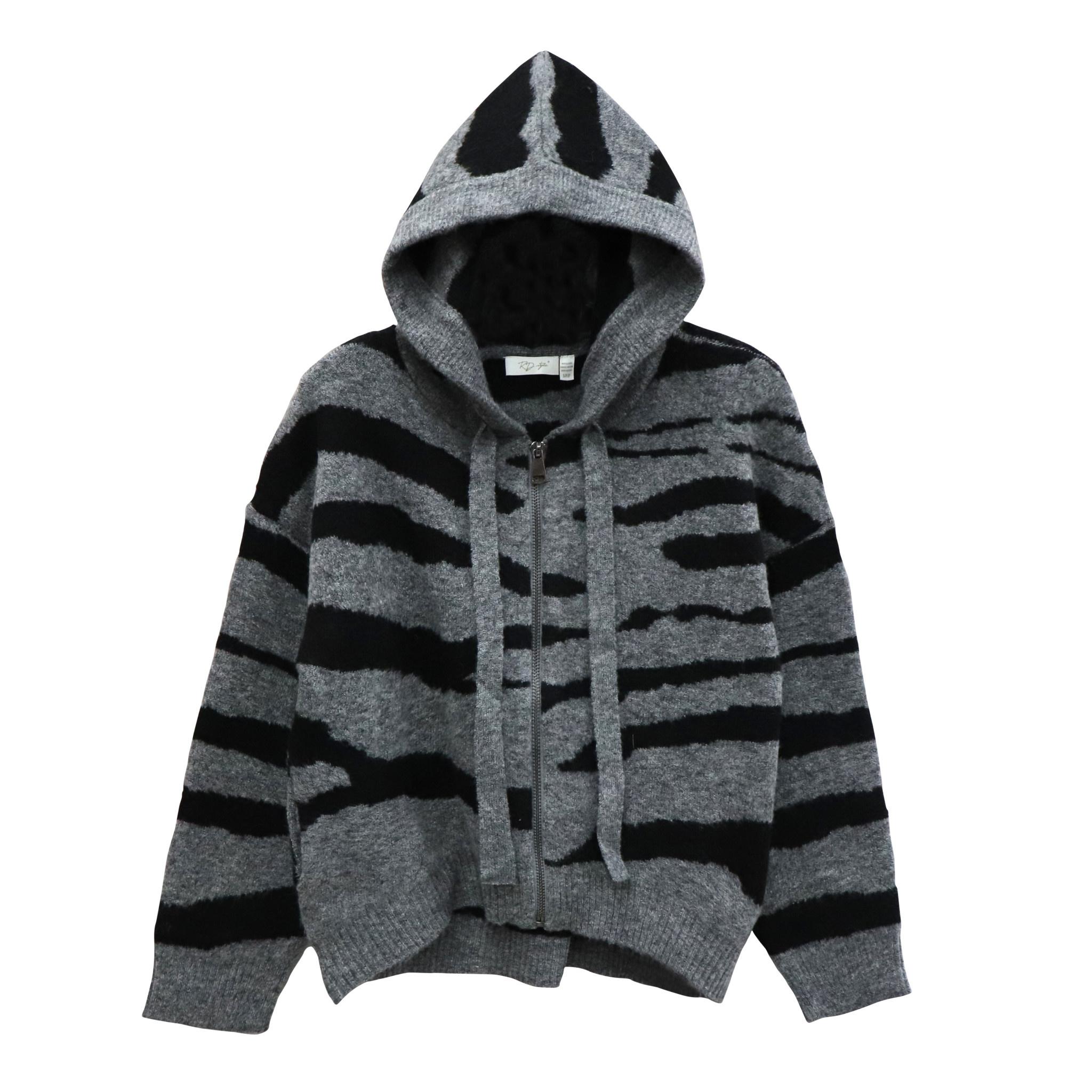 Zebra Knit Zip Up Hoodie