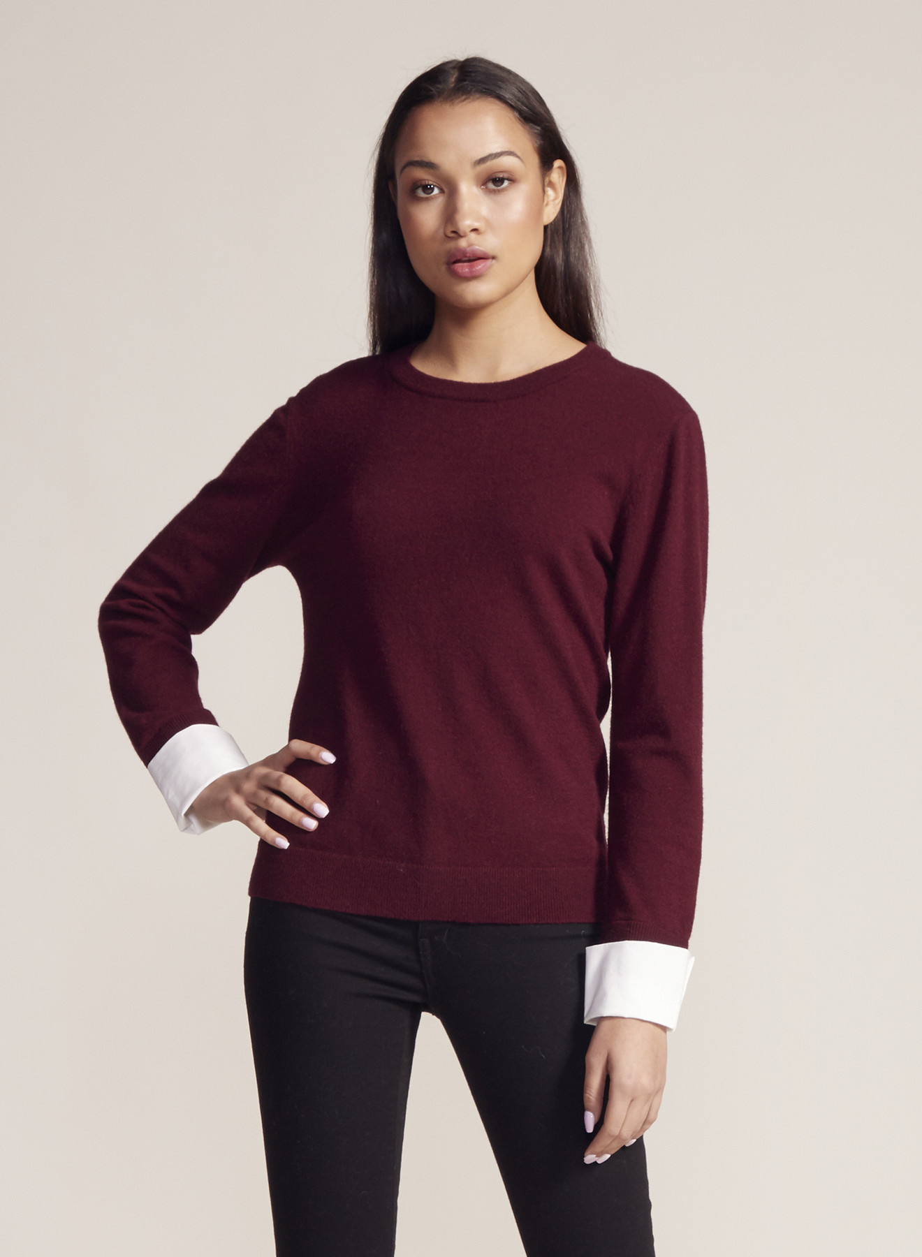 Crew Neck Sweater with Cuffs