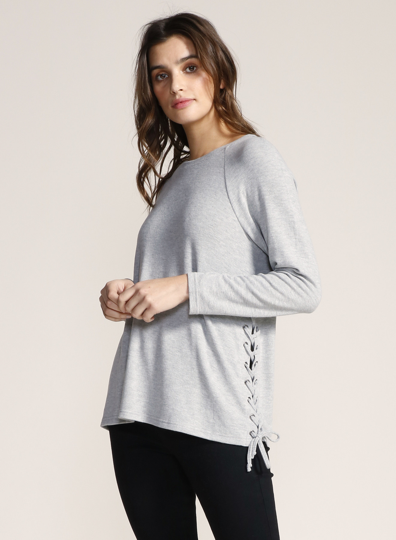 Brush Knit Top with Lace Up Sides
