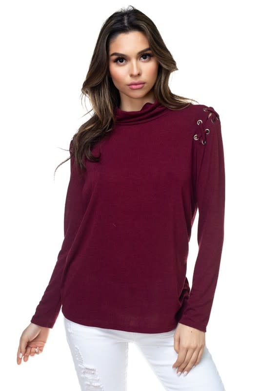 Lace Up Detail Hi Neck Top