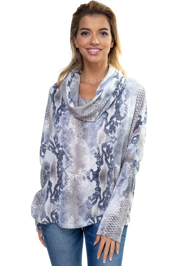 Snake Print Cowl Neck Lace Up Top