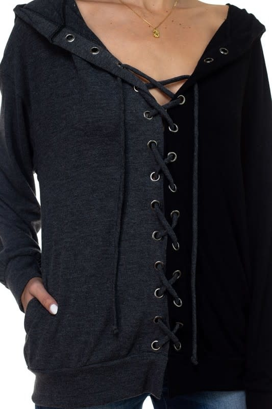 Two Tone Lace Up Front & Back Hoodie