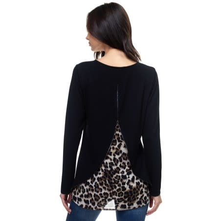 Contrast Zipper Back Top