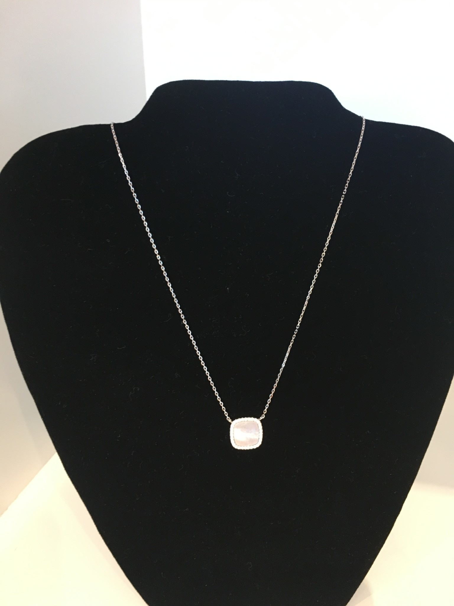 Cubic Zirconia Square With Mother of Pearl