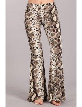 Snake Print Bell Bottom Flare Pants