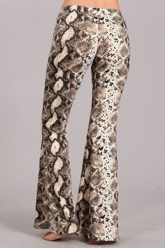 Snake Print Bell Bottom Flare Pants
