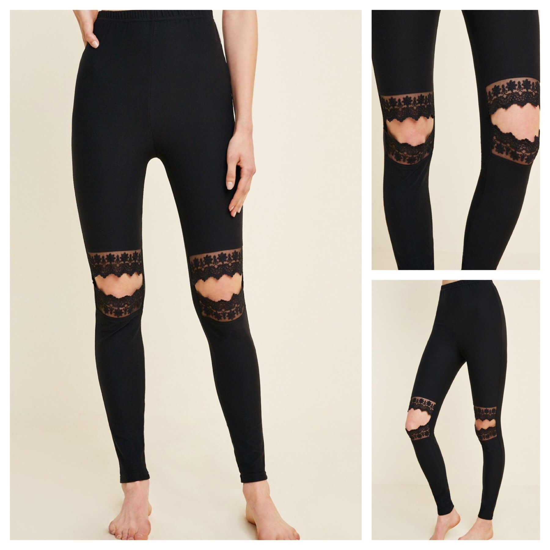 Laser Cut and Lace Leggings
