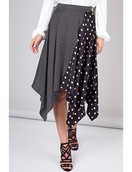 Two Dot Printed Flare Skirt