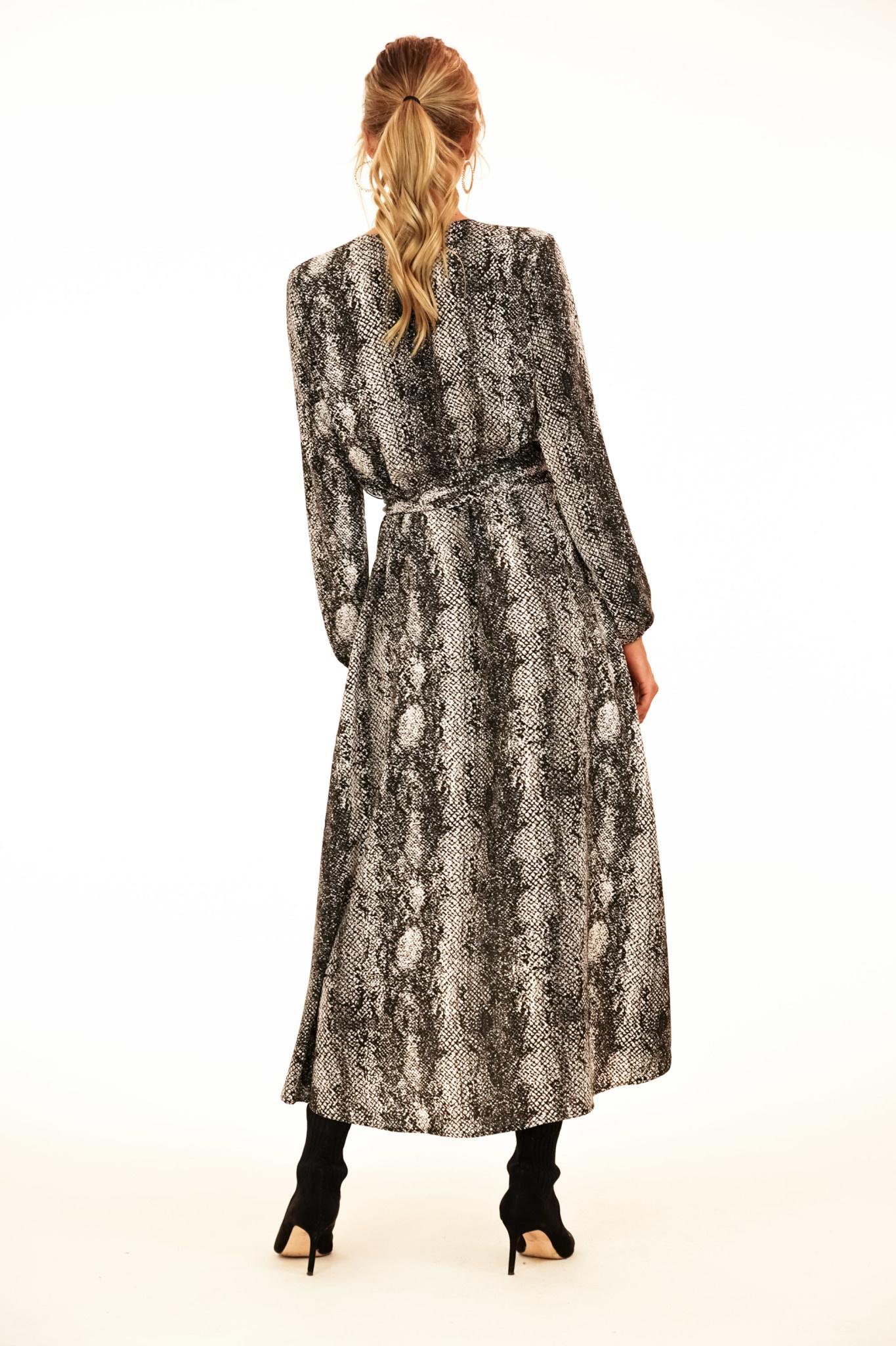 Snake Print Wrap Maxi Dress