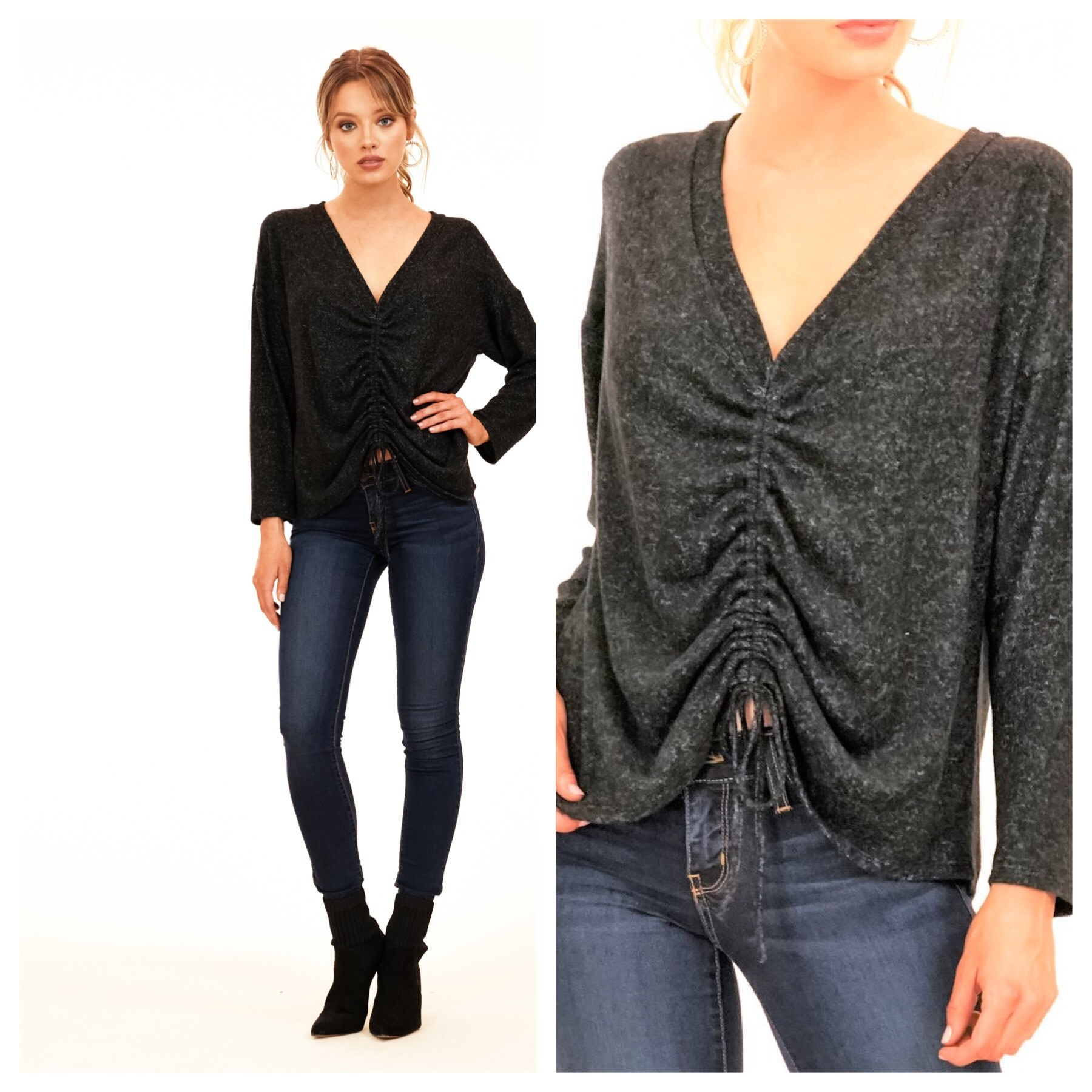 Cinhced Front Knit Top