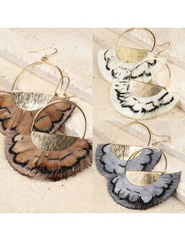 Feather and Brushed Metal Earrings