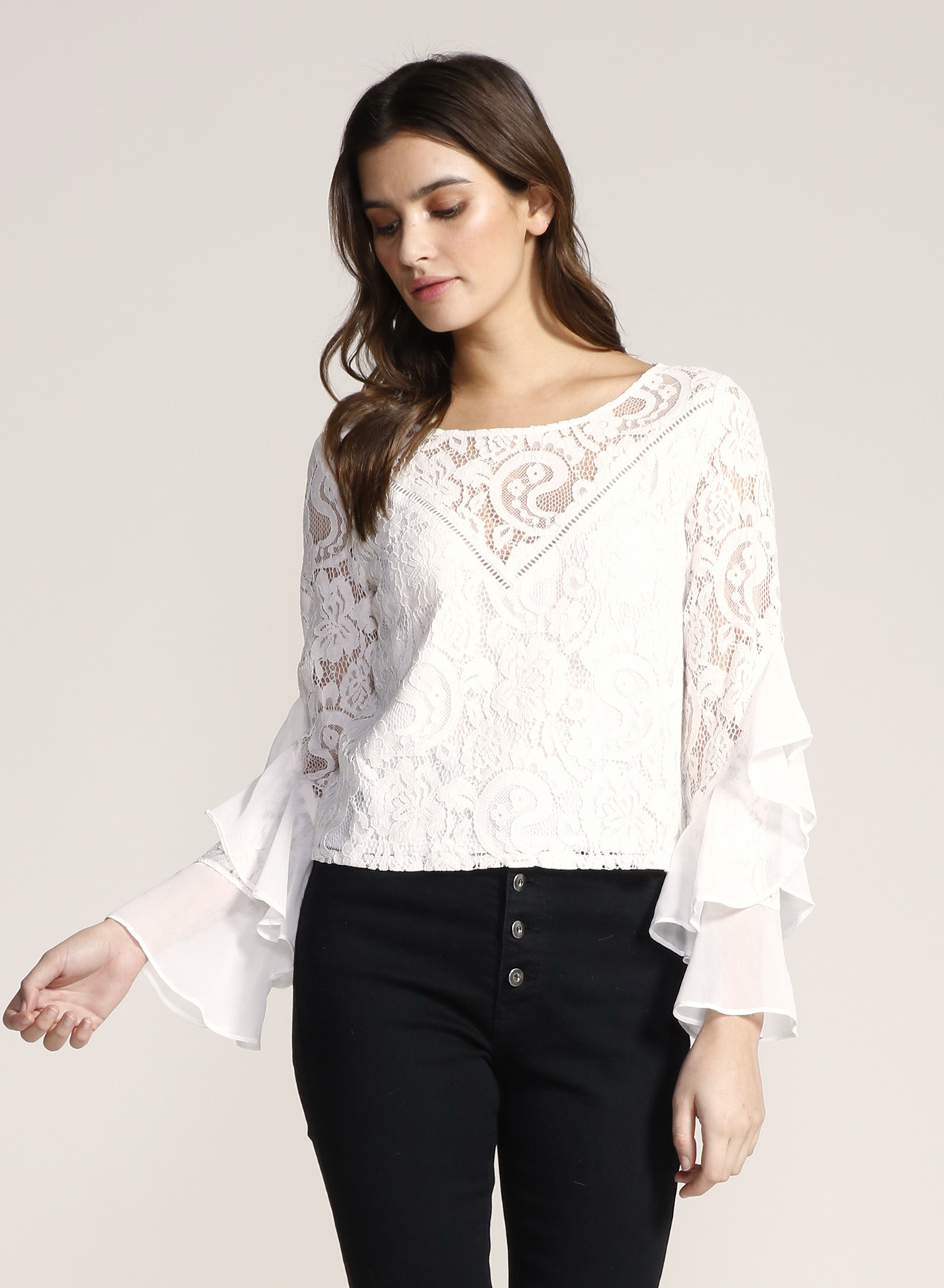 Lace Blouse with Chiffon Detail