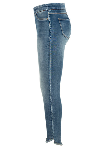 Pullon Jegging with Frayed Curved Hem