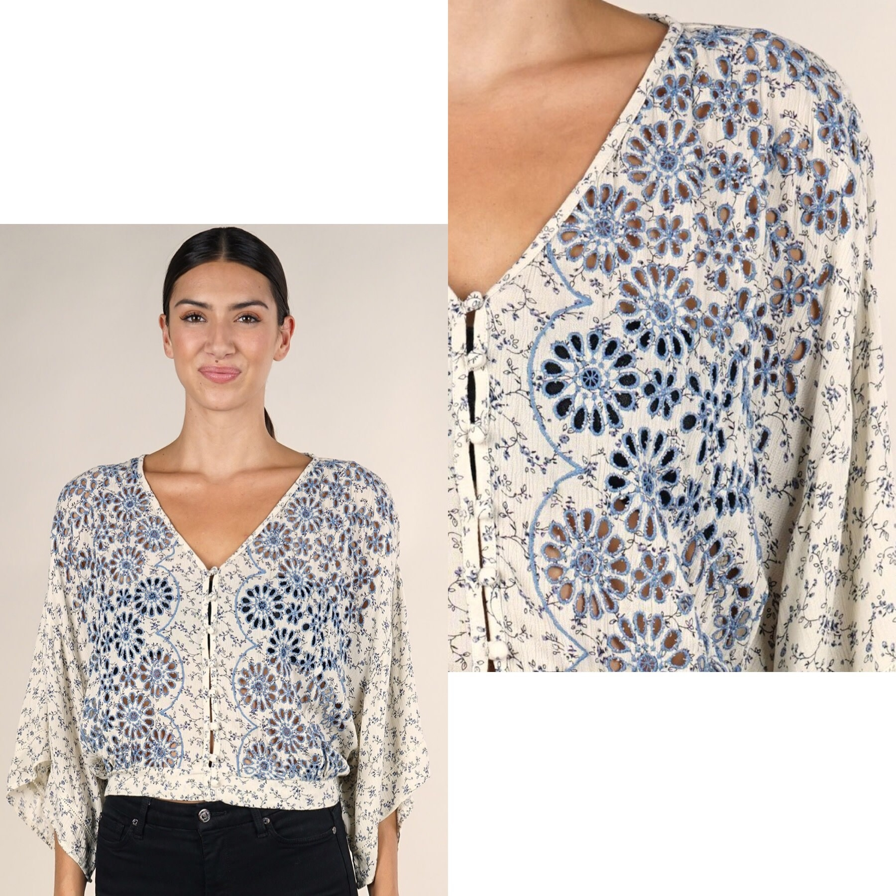 Embroidered Kimono Sleeve Button Top