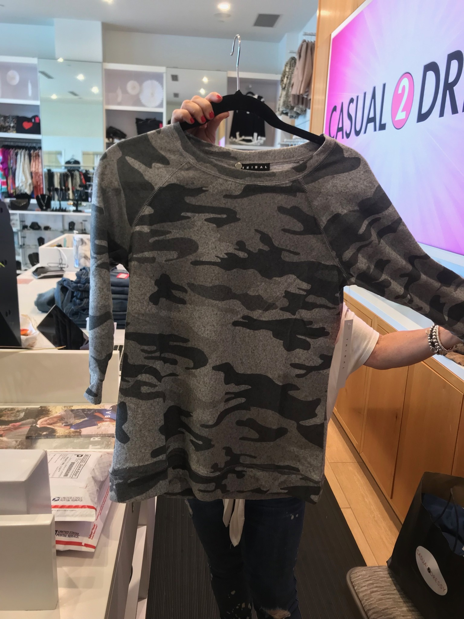 3/4 Sleeve Ultra Soft Camouflage Top