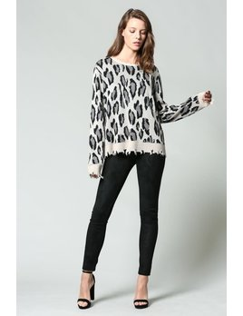 Distressed Leopard Sweater