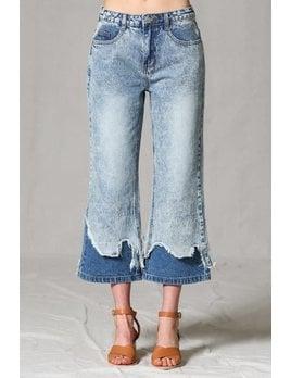 Layered Distressed Hem Flare Jeans