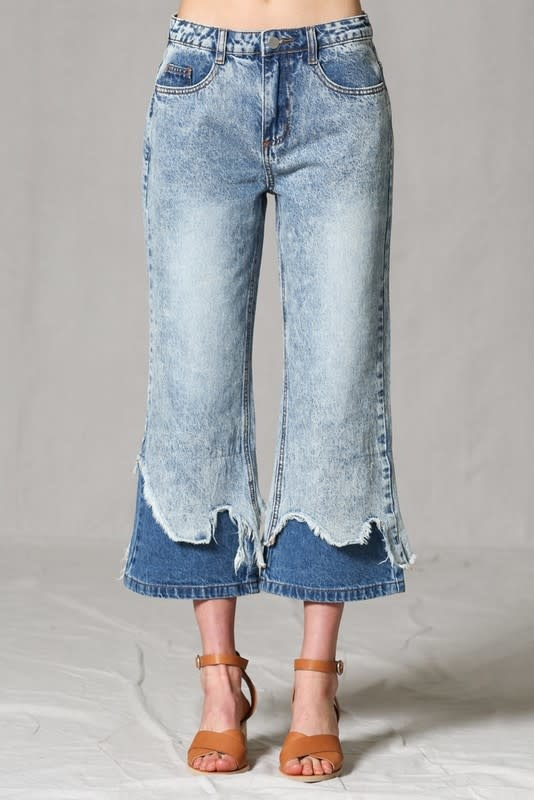 Layered Distressed Hem Flare Jeans