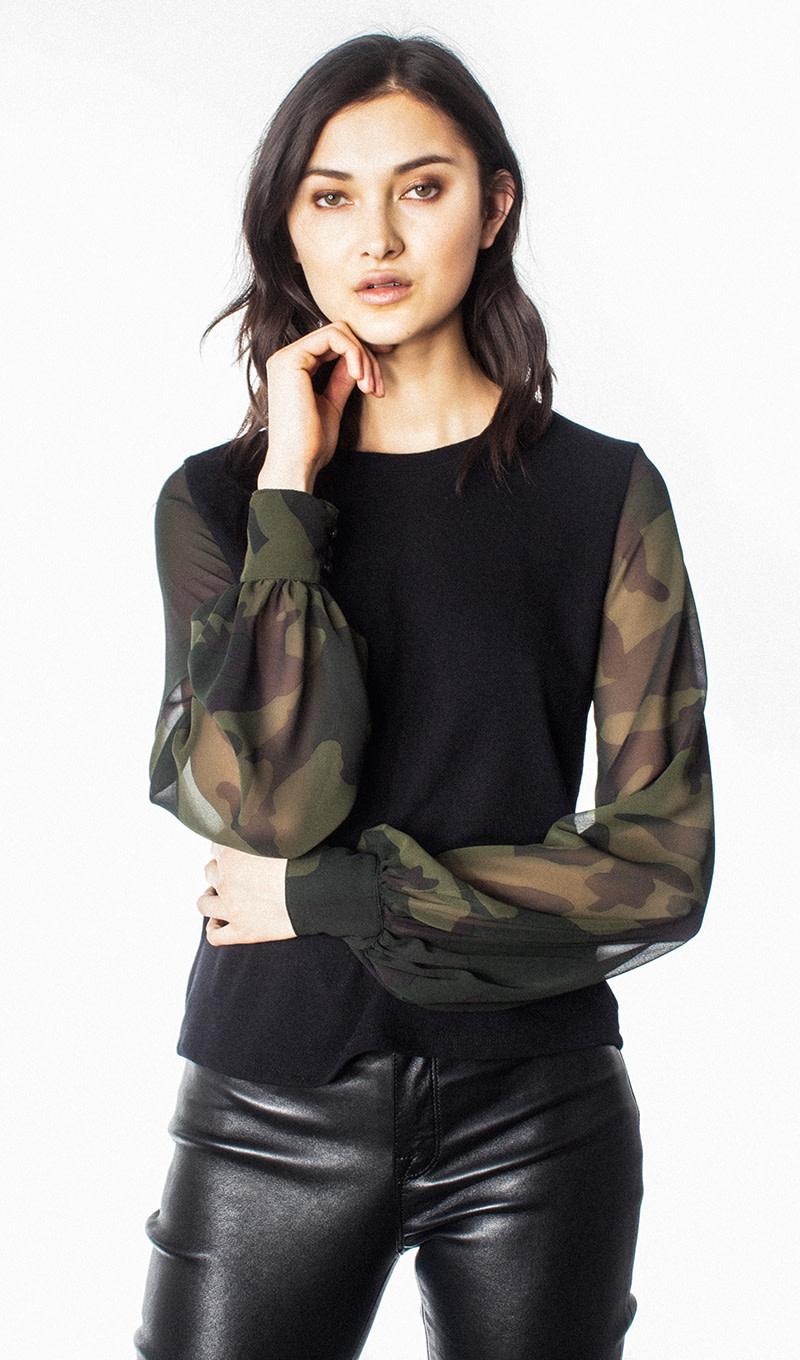 Camouflage Sheer Sleeve Knit Top
