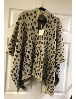 Leopard Zip Up Poncho with Arms