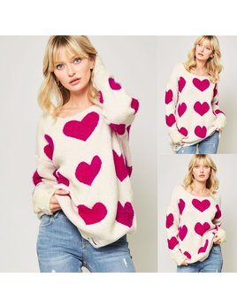 Heart Fuzzy Knit Distressed Sweater