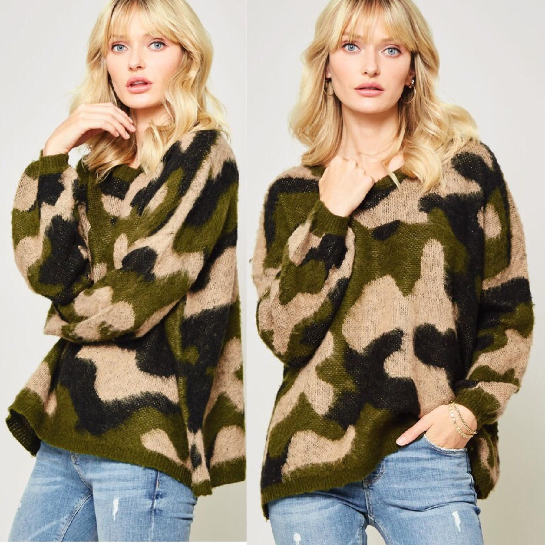 Camouflage Fuzzy Sweater