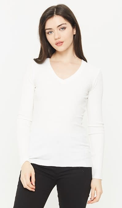 Ribbed Long Sleeve V Neck Top