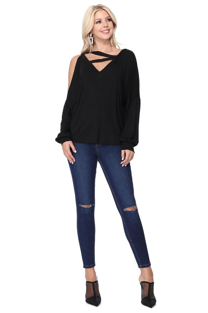 One Cold Shoulder Strappy Neck Top