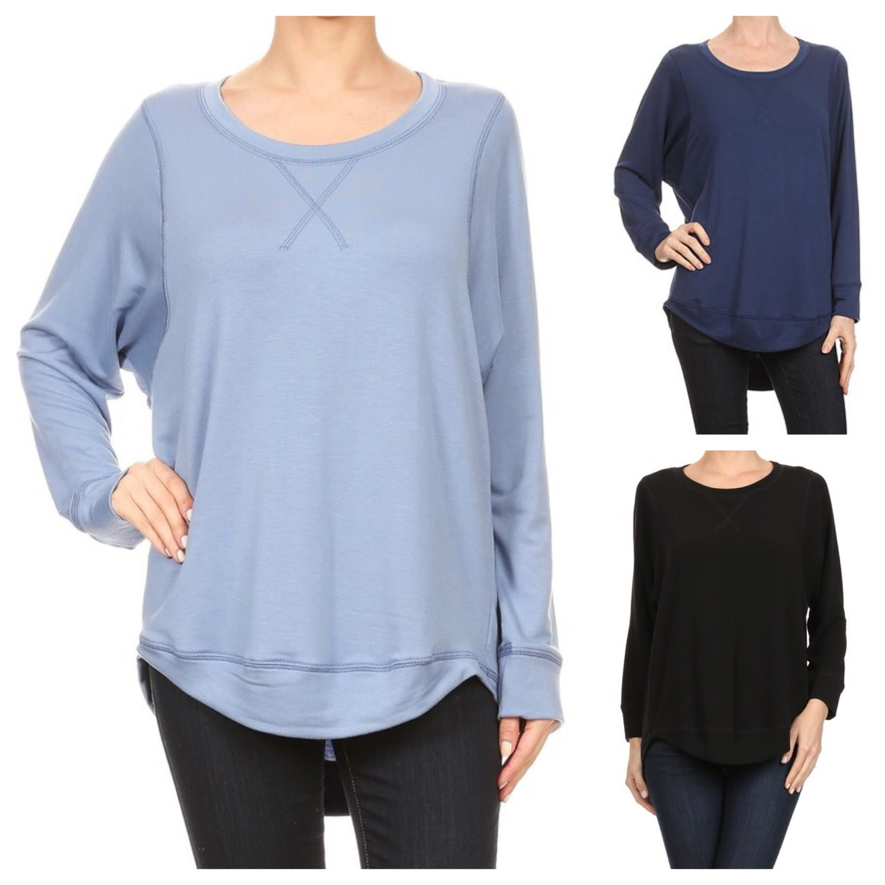 Solid Top with Cresent Hem