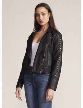 Faux Leather Jacket W/ Studs