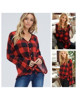 Plaid Top with Bell Sleeves