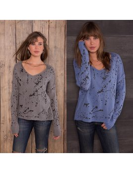 Splatter V-Neck Knit Sweater