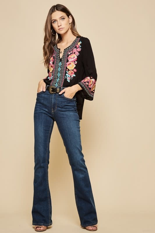 Embroidered Bell Sleeve Tunic