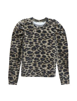 Leopard Knit Pullover with Puff Sleeve