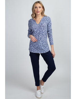 Leopard Knit Top with Button V Neck
