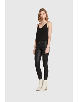 Faux Leather Mid Rise Jeans