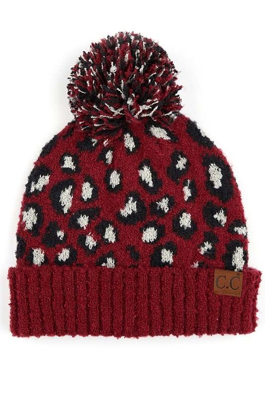 Leopard Pom Pom Hats
