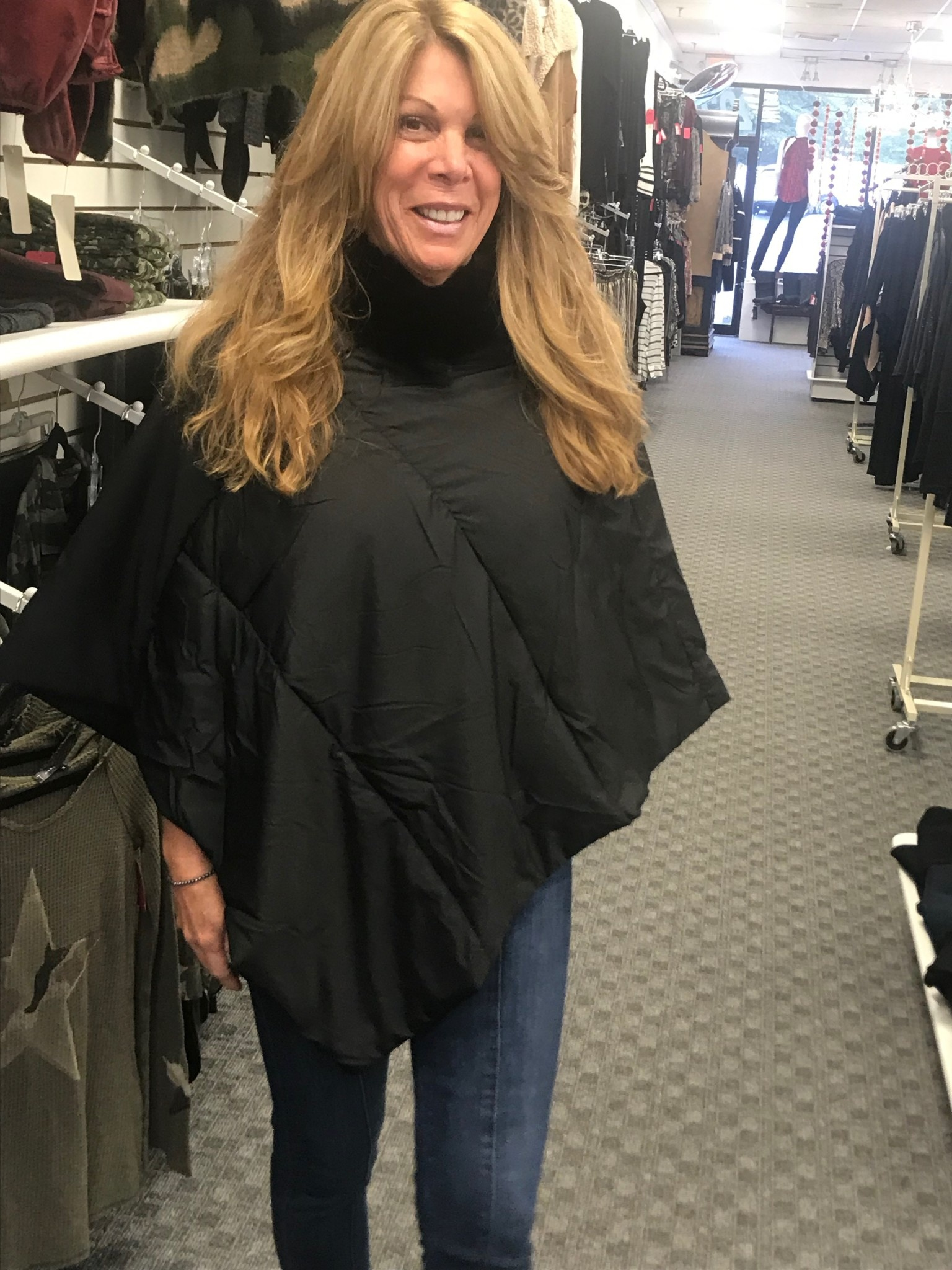 Faux Fur Trimmed Puffer Poncho
