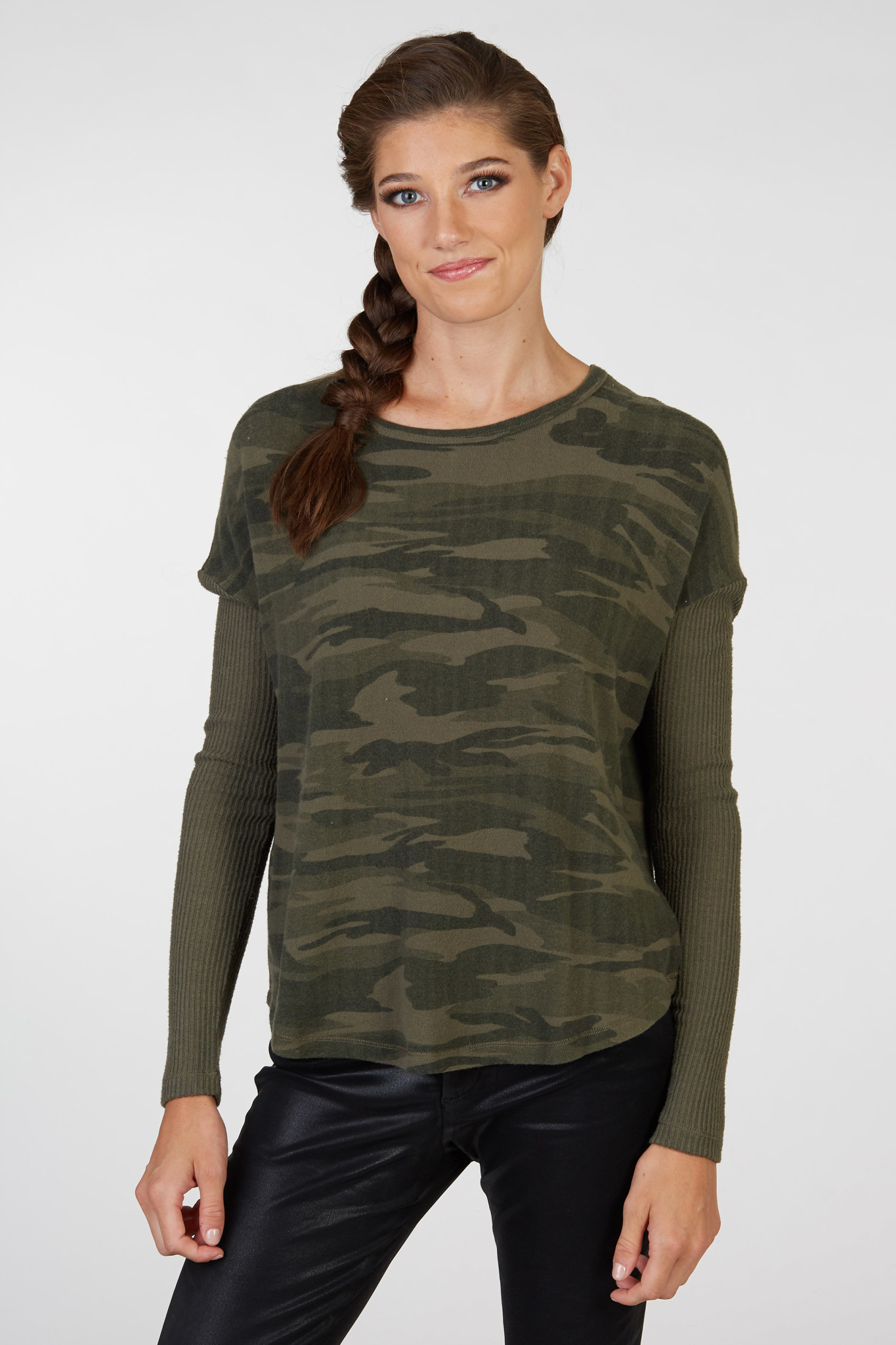 Multi Fabric Camouflage Top