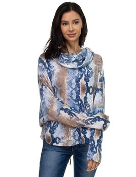 Print Cowl Neck Lace Up Top