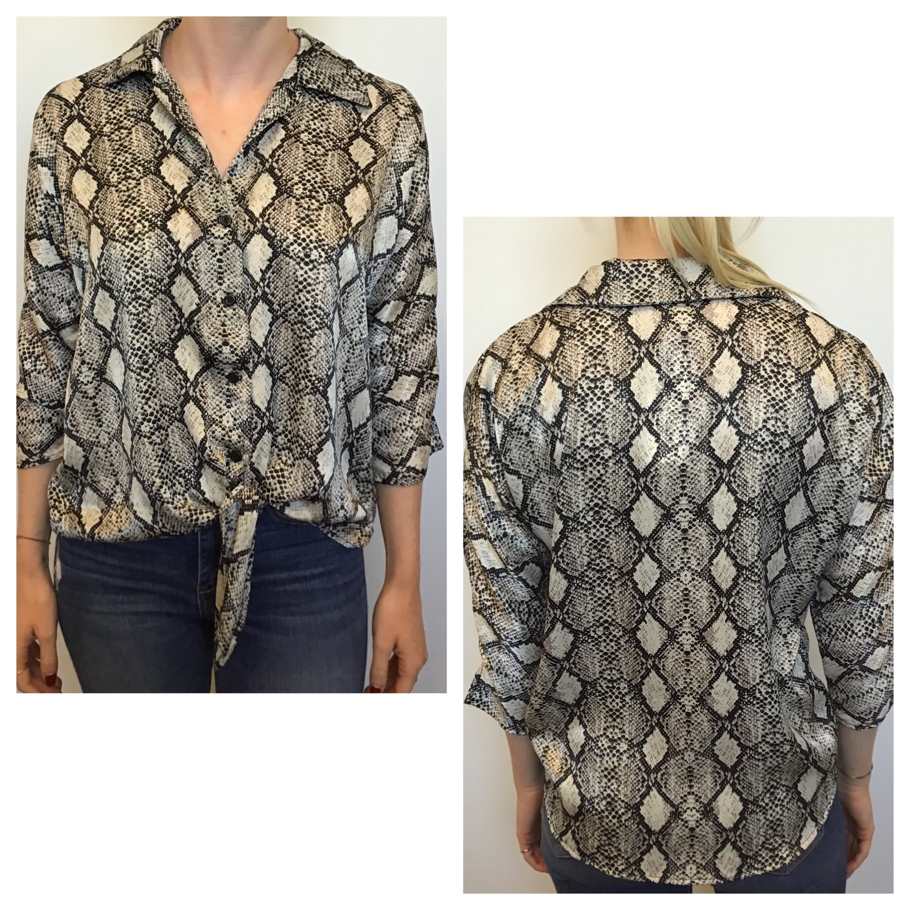 Chiffon Tie Front 3/4 Blouse