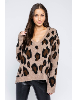 Leopard V Neck Sweater