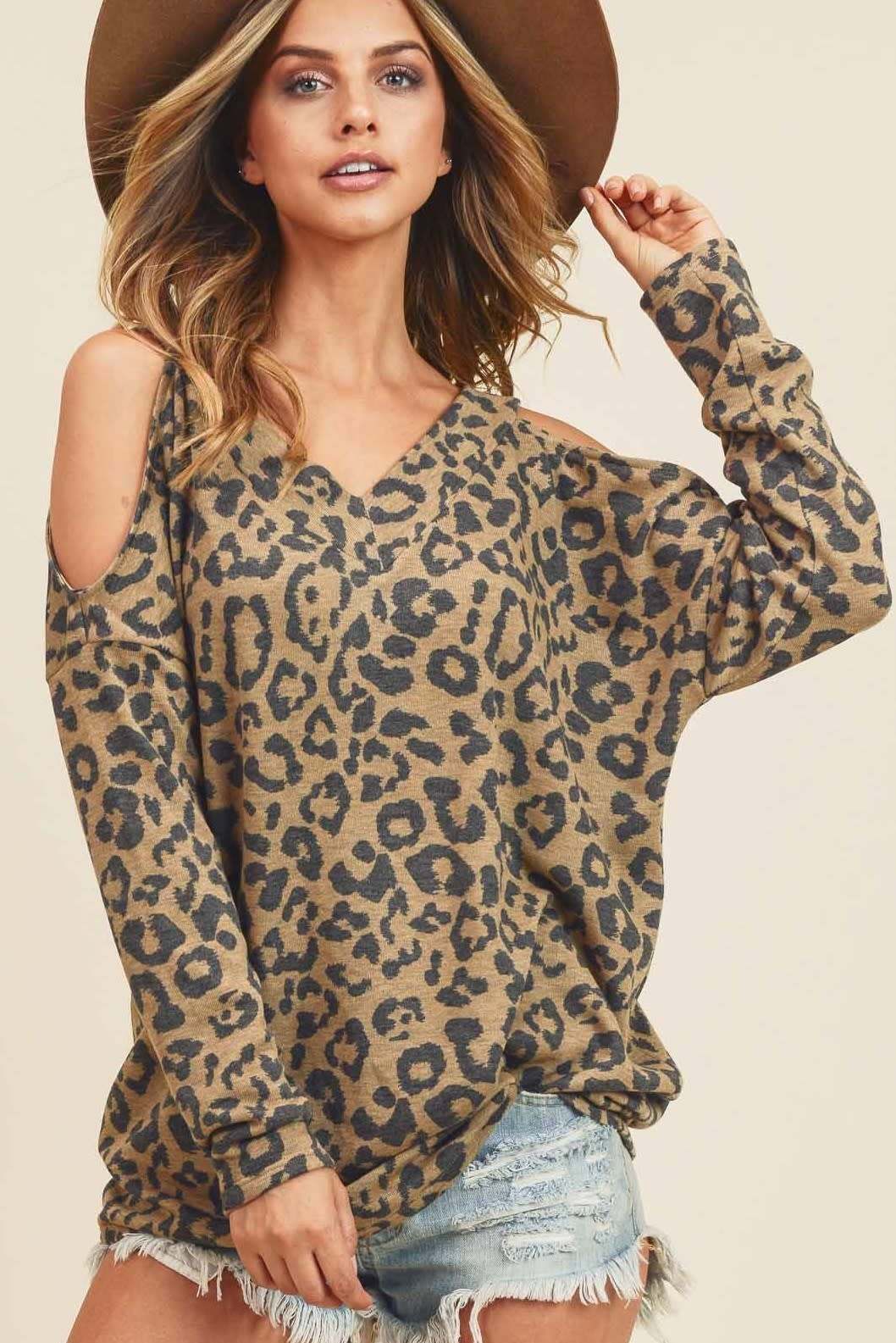 Cold Shoulder Leopard Print Top