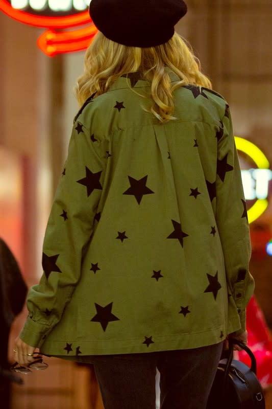 Star Print Snap Front Jacket